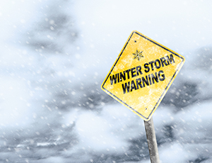 Winter Storm Warning Signpost